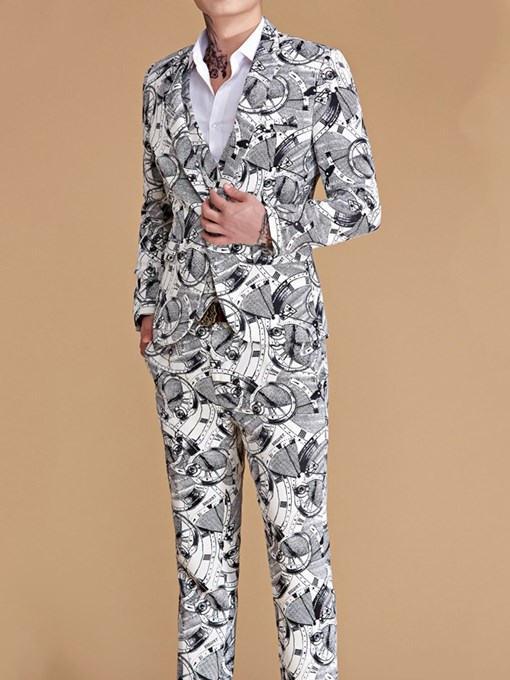 Ericdress Pants Fashion Print Men's Dress Suit