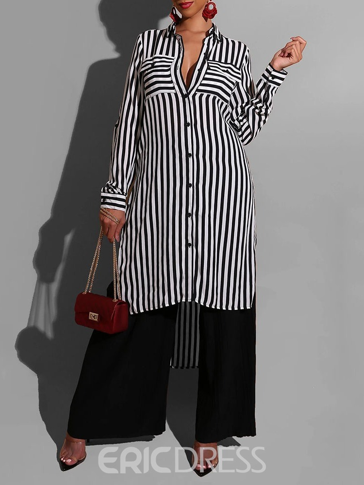 Ericdress Stripe Regular Lapel Long Sleeve Women's Blouse