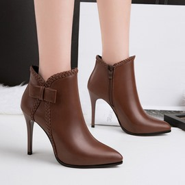 Ericdress Plain Side Zipper Stiletto Heel Western Ankle Boots