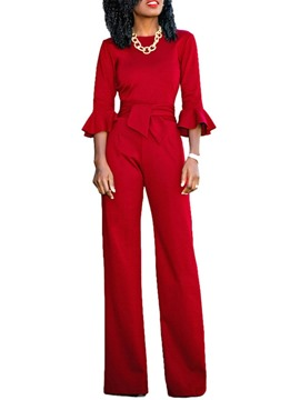 Ericdress Plain Western Women's Slim Straight Jumpsuit