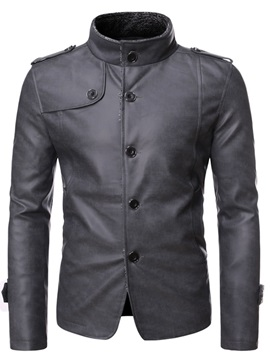 Ericdress Stand Collar Standard Plain Casual Single-Breasted Leather Men's Jacket