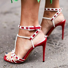 Ericdress Line-Style Buckle Stiletto Heel Open Toe Western Sandals
