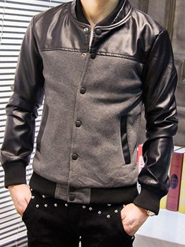 Ericdress Stand Collar Standard Single-Breasted Patchwork Leather Men's Jacket