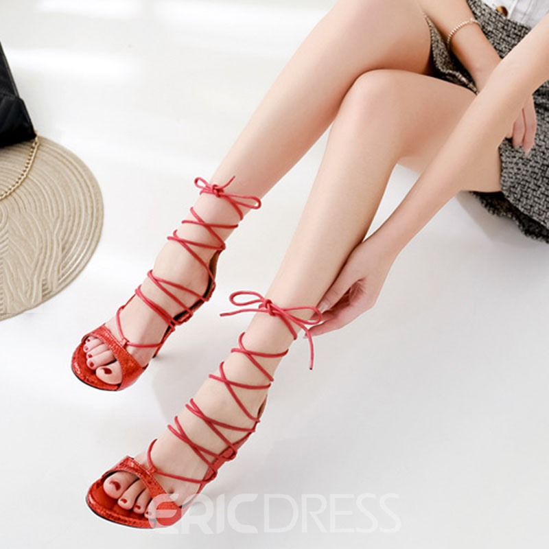 Ericdress Lace-Up Covering Stiletto Heel Western Sandals