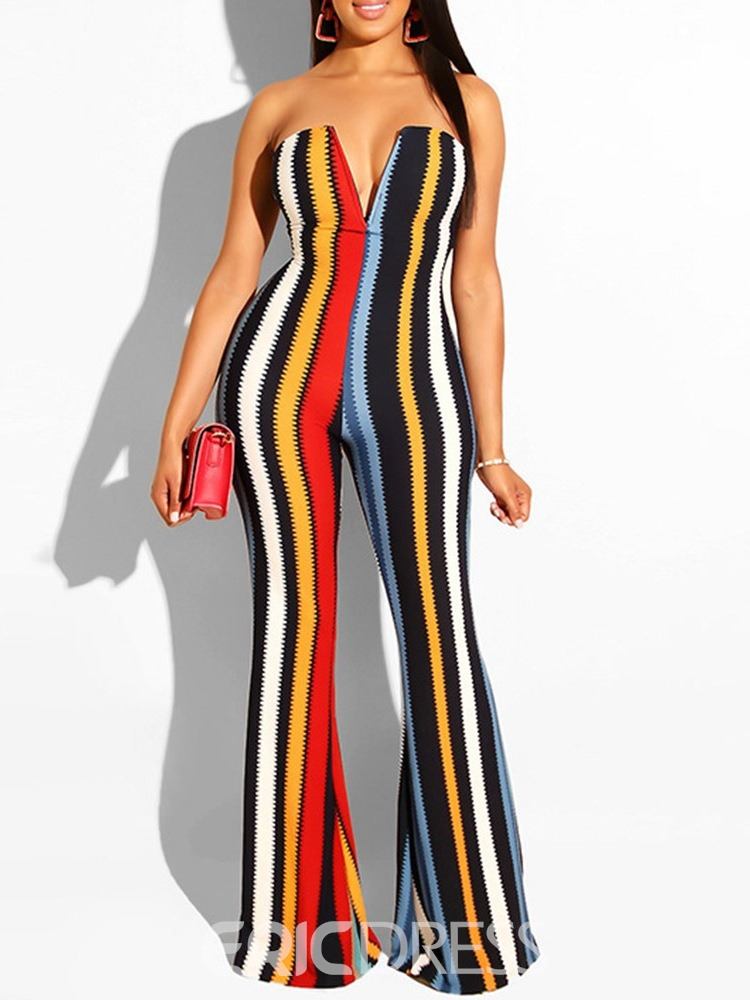 Ericdress Sexy Color Block Women's Slim Bellbottoms Jumpsuit