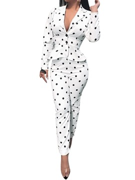 Ericdress Polka Dots Lapel Fashion Two Piece Sets