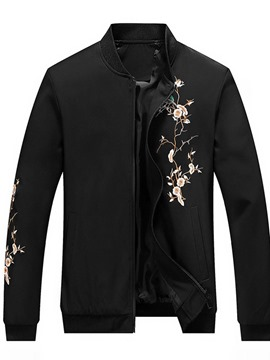 Ericdress Stand Collar Floral Embroidery Slim Casual Jacket
