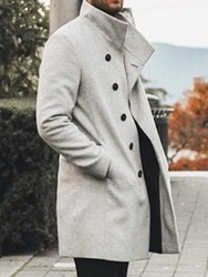 Ericdress Stand Collar Mid-Length Plain Casual Single-Breasted Mens Coat фото