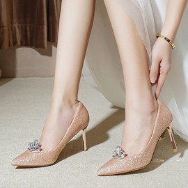 ericdress slip-on bout pointu strass mariage chaussures minces
