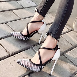 Ericdress Mesh Pointed Toe Buckle Color Block Pumps