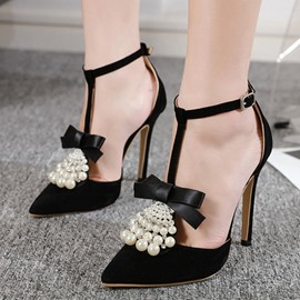 Ericdress T-Shaped Buckle Stiletto Heel Pointed Toe Korean Pumps