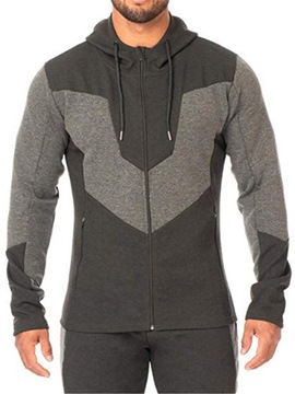 Ericdress Cardigan Patchwork Color Block Men's Zipper Hoodies
