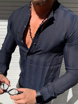 Ericdress Round Neck Stripe Casual Single-Breasted Men's Slim Shirt