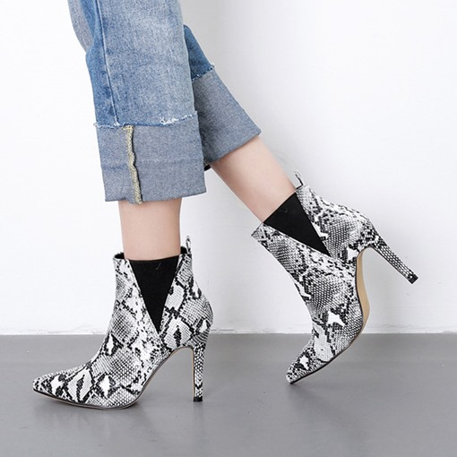 Ericdress Slip-On Pointed Toe Color Block Serpentine Ankle Boots