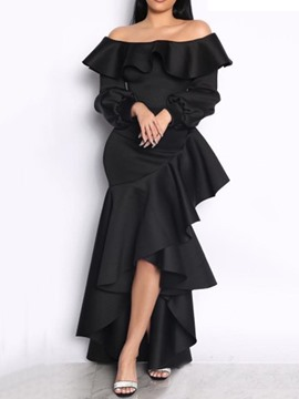 Ericdress Floor-Length Pleated Off Shoulder Cold Shoulder Mid Waist Women's Dress