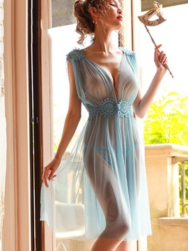 Ericdress Floral See-Through Slit Up Sleeveless Nightgown Babydolls