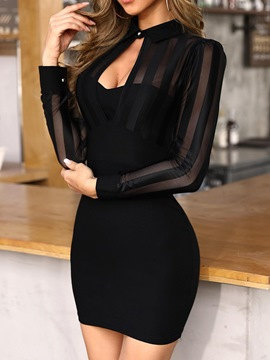 Ericdress Above Knee Long Sleeve Lapel Pullover Women's Bodycon Dress