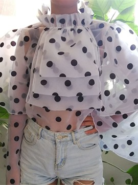 Ericdress Polka Dots Stand Collar Long Sleeve Short Women's Blouse