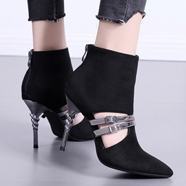 Ericdress Stiletto Heel Pointed Toe Back Zip PU Boots