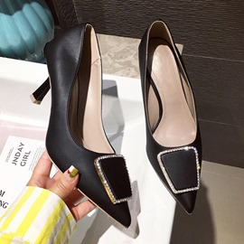 Ericdress Stiletto Heel Pointed Toe Thread Plain Pumps