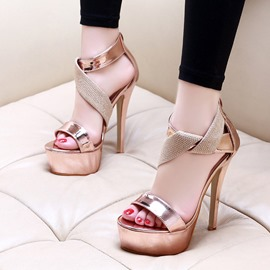 Ericdress Heel Covering Open Toe Zipper Thread Stiletto Sandals