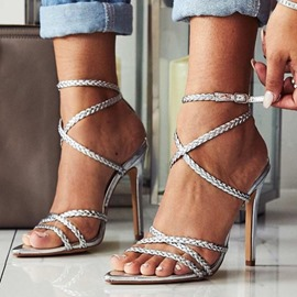 Ericdress Line-Style Buckle Stiletto Heel Pointed Toe Woven Sandals