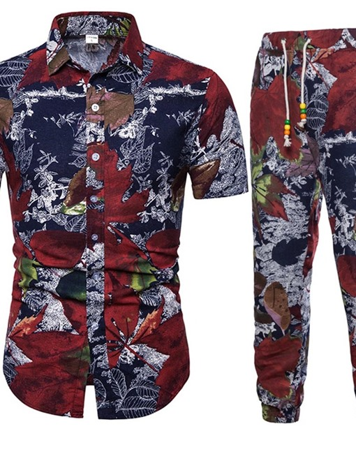 Ericdress Print Plant Casual Men's Outfit