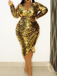 Ericdress Plus Size V-Neck Long Sleeve Sequins Party/Cocktail Pullover Womens Dress