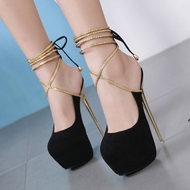 Ericdress Round Toe Lace-Up Stiletto Heel Casual Sandals