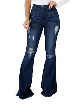 Ericdress Bellbottoms Hole Slim Zipper Women's Jeans
