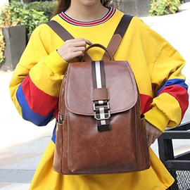 Ericdress Belt-Decorated PU Casual Backpacks