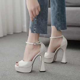 Ericdress Line-Style Buckle Peep Toe Casual Sandals