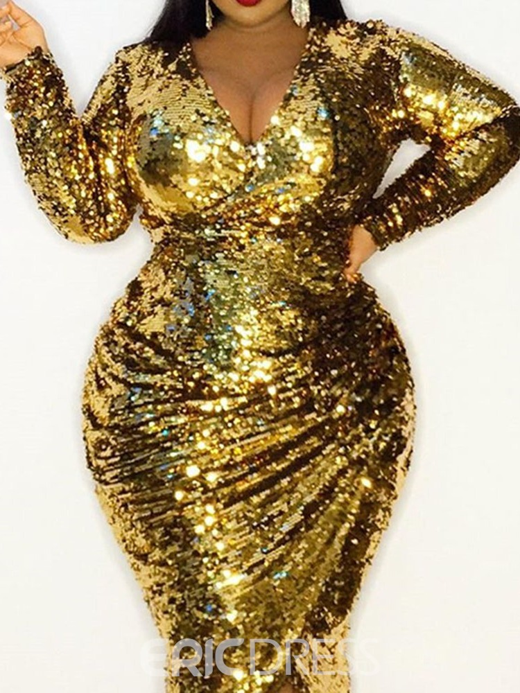 Ericdress Plus Size V-Neck Long Sleeve Sequins Party/Cocktail Pullover Women's Dress