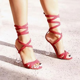 Ericdress Open Toe Chunky Heel Lace-Up Plain Sandals