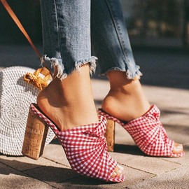 Ericdress Flip Flop Slip-On Chunky Heel Plaid Casual Slippers