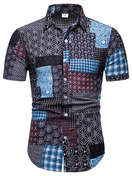 Ericdress Print Casual Color Block Summer Single-Breasted Men's Shirt