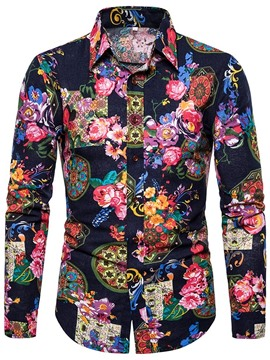 Ericdress Print Floral Lapel Men's Shirt