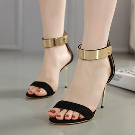 Ericdress Heel Covering Open Toe Zipper Sandals