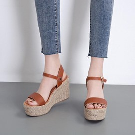 Ericdress Open Toe Wedge Heel Buckle Western Sandals