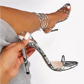 Ericdress Lace-Up Open Toe Ankle Strap Color Block Sandals
