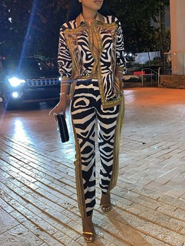 Ericdress Fashion Zebra Stripe Shirt Lapel Two Piece Sets