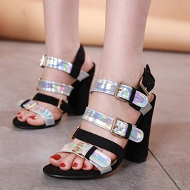 Ericdress Chunky Heel Open Toe Buckle Color Block Sandals