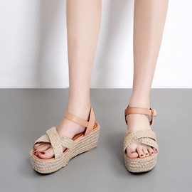 Ericdress Buckle Open Toe Wedge Heel Western Sandals