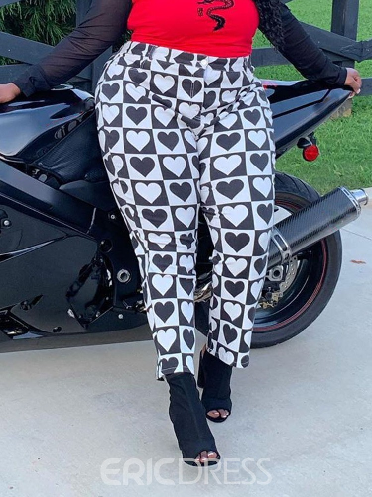Ericdress Print Heart Shaped Slim Ankle Length Women's Casual Pants