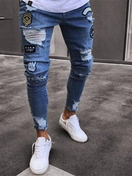 Ericdress Pencil Pants Appliques Mid Waist Mens Casual Jeans фото