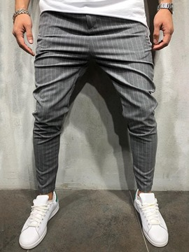 Ericdress Pencil Pants Stripe Print Mid Waist Men's Casual Pants