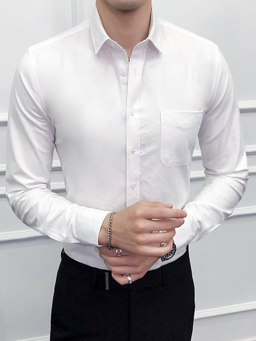 Ericdress Casual Lapel Plain Spring Single-Breasted Men's Shirt