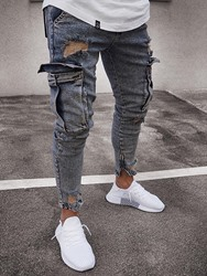 Ericdress Worn Plain Pencil Pants Zipper Mens Casual Jeans фото