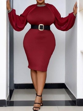 Ericdress Plus Size Knee-Length Round Neck Office Lady Pullover Women's Dress