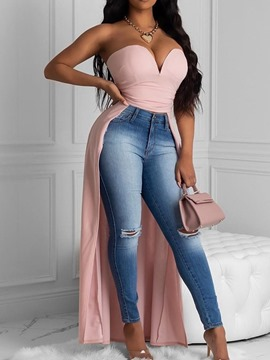 Ericdress Asymmetric Wrapped Chest Bra Polyester Long Tank Top